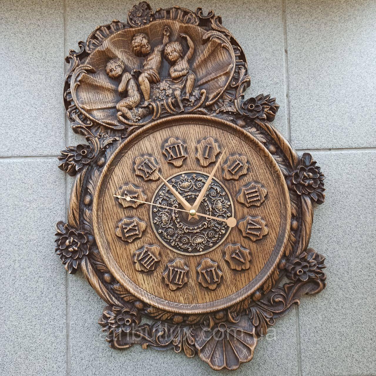 """Часы резные из дерева. """"Ангелы 2"""""""