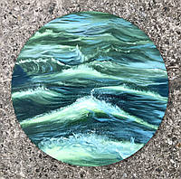 """Картина маслом в интерьер """"Green storm"""" диаметр 40 см"""