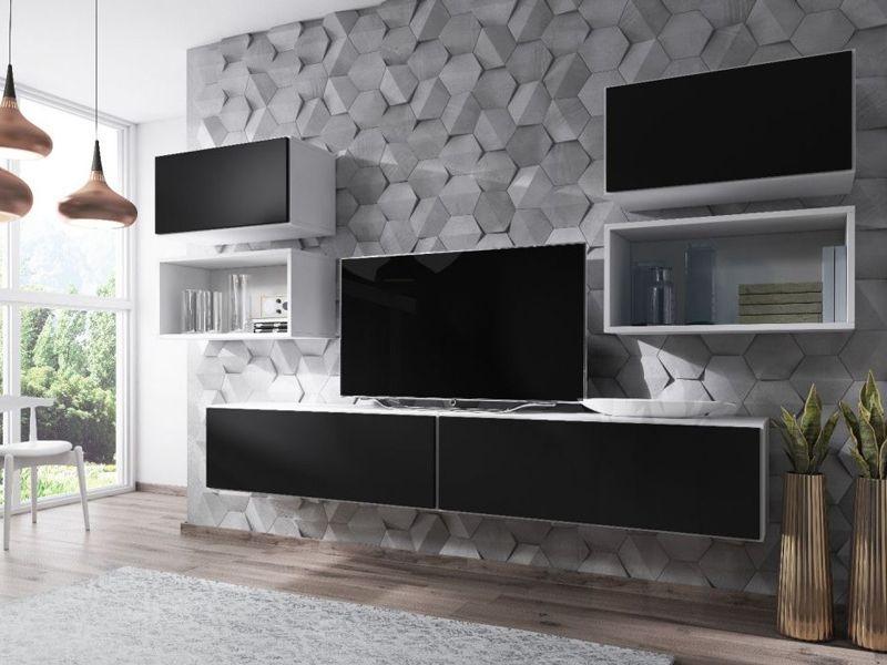 Гостиная Roco 3 белый/черный (модульная мебель)(Cama)
