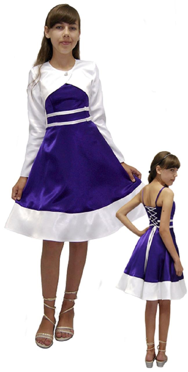 """Платье нарядное для девочки из атласа сболеро М -2240  рост 152 тм """"Попелюшка"""""""