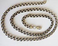 Серебряная цепь, черненная, Бисмарк тройной размер 60 см, фото 1