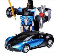 Машинка Трансформер Bugatti Robot Car Size 1:18 Синяя с пультом! Хит продаж