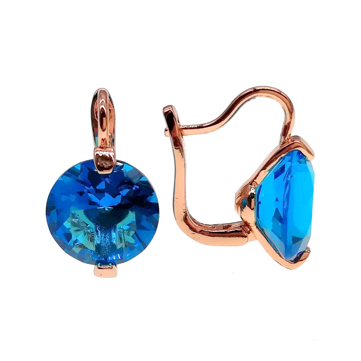 Серьги SONATA из медицинского золота, голубые фианиты, позолота PO, 24126