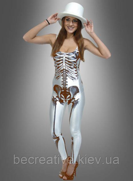 Женский белый карнавальный костюм скелета