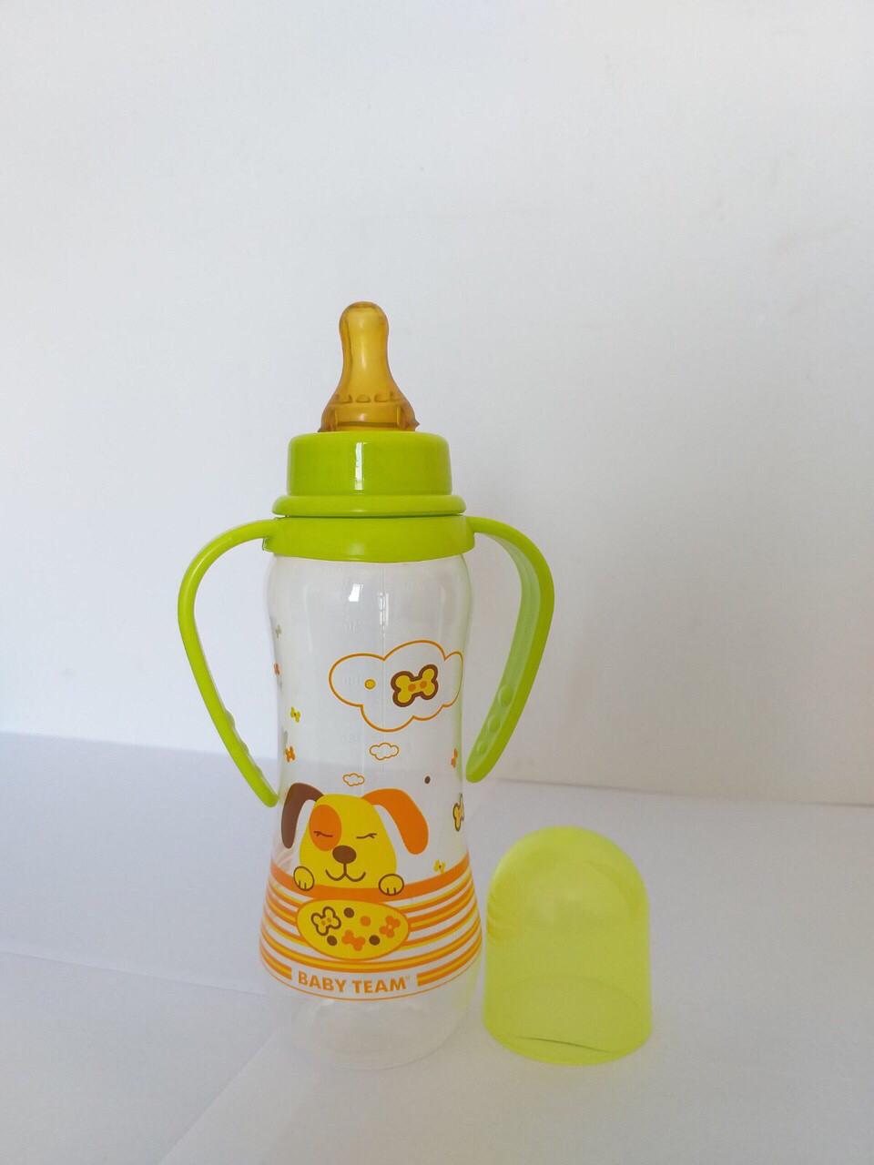 Бутылочка  для кормления с латексной  соской и ручками, 250 мл Baby Team