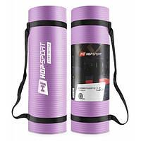 Мат для фитнеса и йоги 180 x 61 х 1.5 см Hop-Sport HS-N015GM 1,5 см фиолетовый коврик для дома и спортзала
