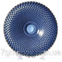 Тарелка стеклянная, блюдо Bailey Shinning Blue 32.5 см (500-18)