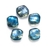Хрустальные бусины, стекло синие, форма изогнутый квадрат 17*17 мм, 5 шт.