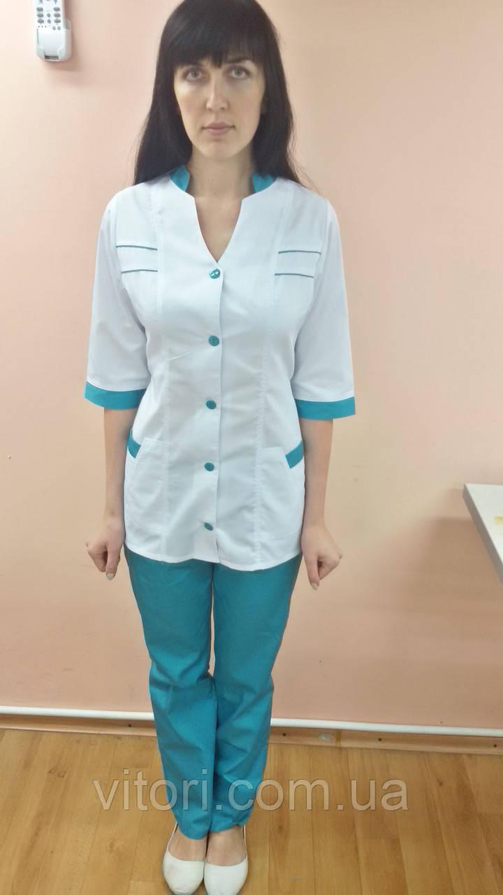 Жіночий медичний костюм Оксана коттон три чверті рукав