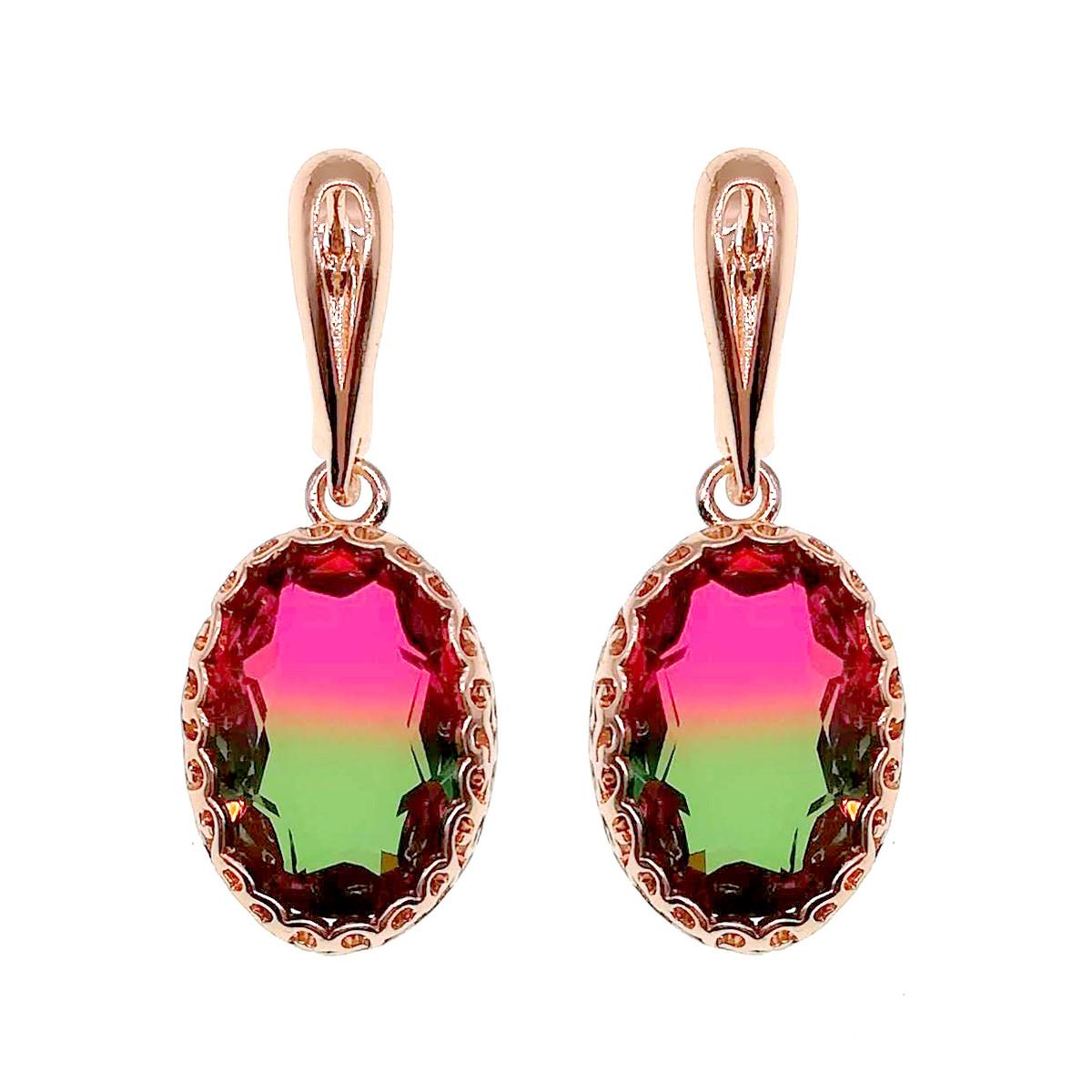 Серьги SONATA из медицинского золота, розово-зеленые фианиты, позолота PO, 24141                         (1)