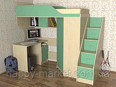 Кровать чердак со шкафом и лестницей,КЧЛ-2804