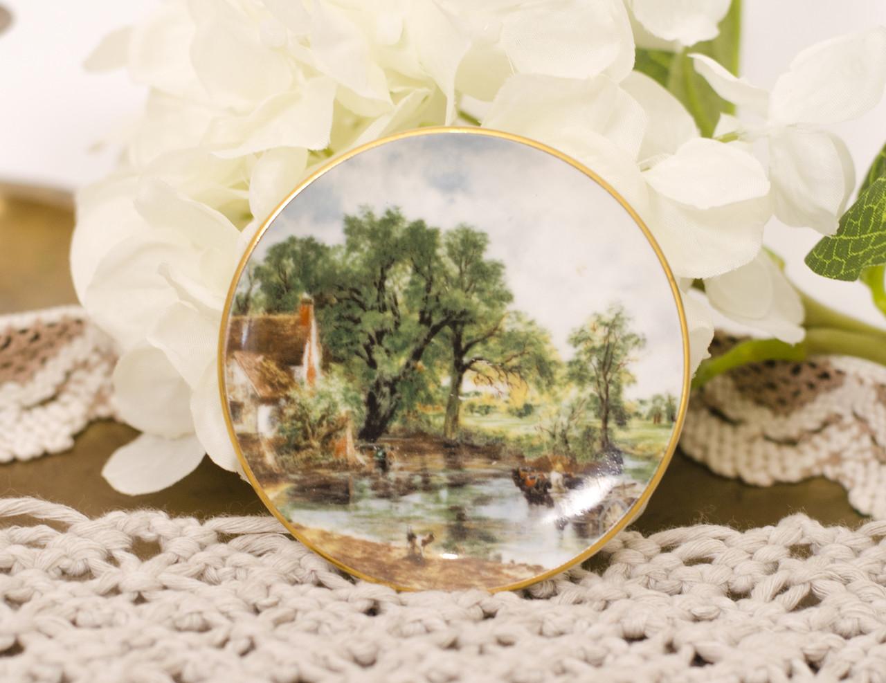 Фарфоровая тарелочка с сельским пейзажем, розетка, фарфор, Англия, GROWN STAFFS