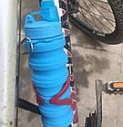 Силиконовая складная бутылка ЧЕРНАЯ 500 мл   Спортивная бутылка с поилкой силиконовая, фото 6