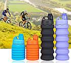 Силиконовая складная бутылка ЧЕРНАЯ 500 мл   Спортивная бутылка с поилкой силиконовая, фото 8