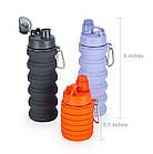 Силиконовая складная бутылка ЧЕРНАЯ 500 мл   Спортивная бутылка с поилкой силиконовая, фото 9