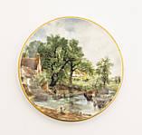 Фарфоровая тарелочка с сельским пейзажем, розетка, фарфор, Англия, GROWN STAFFS, фото 2