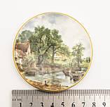 Фарфоровая тарелочка с сельским пейзажем, розетка, фарфор, Англия, GROWN STAFFS, фото 4