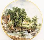 Фарфоровая тарелочка с сельским пейзажем, розетка, фарфор, Англия, GROWN STAFFS, фото 3