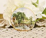 Фарфоровая тарелочка с сельским пейзажем, розетка, фарфор, Англия, GROWN STAFFS, фото 6