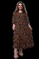 Платье для полных женщин свободное с цветочным принтом черное D60S-2