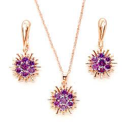 Набір SONATA з медичного золота, фіолетові фіаніти, позолота PO, 73278