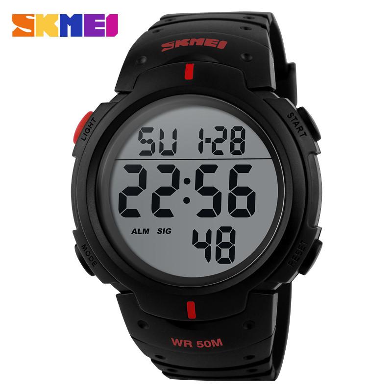 Skmei 1068 черные с красными вставками мужские спортивные часы