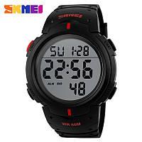 Skmei 1068 черные с красными вставками мужские спортивные часы, фото 1