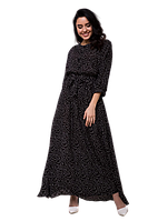 Длинное летнее платье в пол с поясом и мелким принтом D64S-2 черное