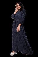 Длинное летнее платье в пол с поясом и мелким принтом D64S-3 синее