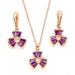 Набір SONATA з медичного золота, фіолетові фіаніти, позолота PO, 73279