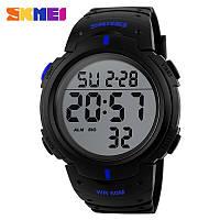 Skmei 1068 черные с синими вставками мужские спортивные часы, фото 1