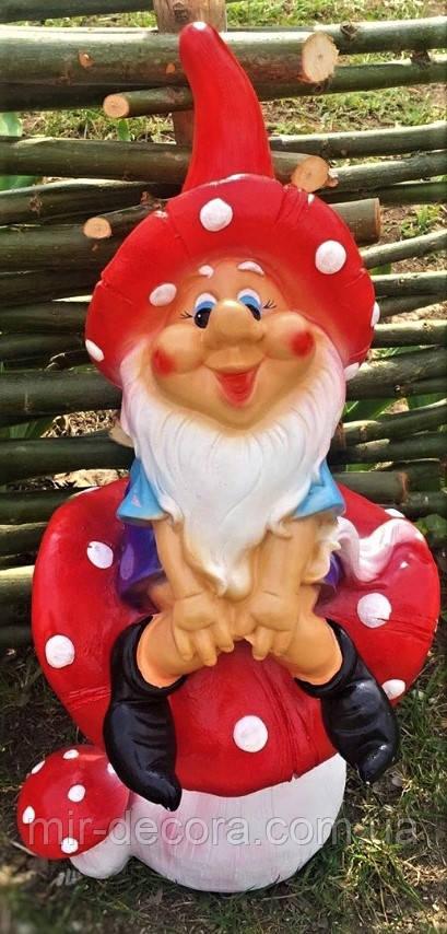 Фигура садовая Гном на грибе, 50 см