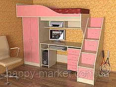 Кровать чердак со шкафом КЧПШ-2804