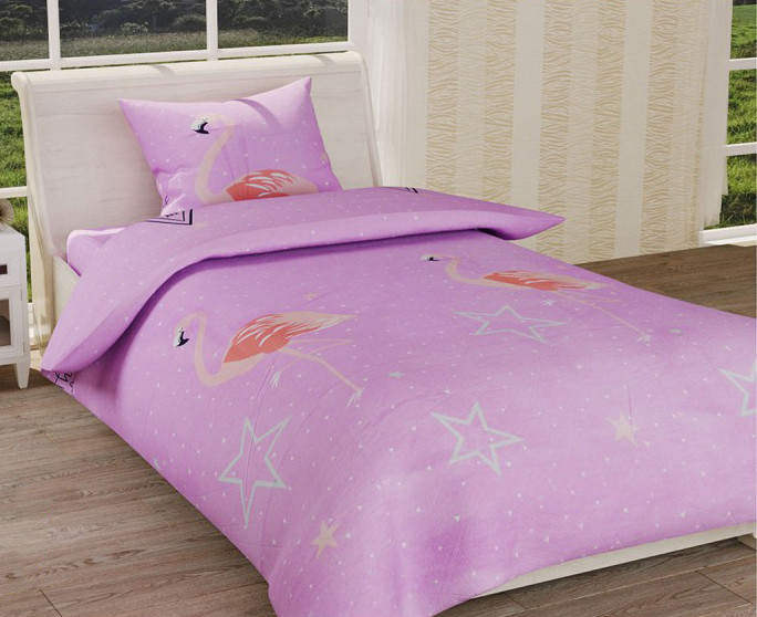 Детское полуторное постельное белье Фламинго на розовом