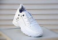 Кроссовки женские, слипоны, на шнурках, белые. Спортивні, жіночі туфлі, шкіряні сліпони, білі, на шнурках