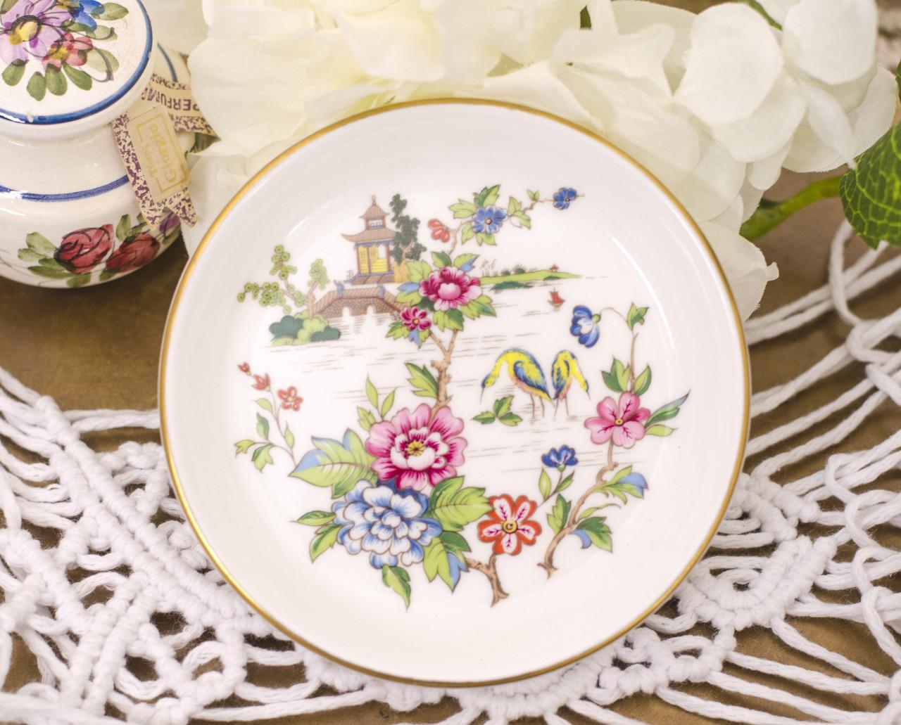 Фарфоровая тарелочка, блюдце для колец, розетка с цветами, Англия, Crown Staffordshire