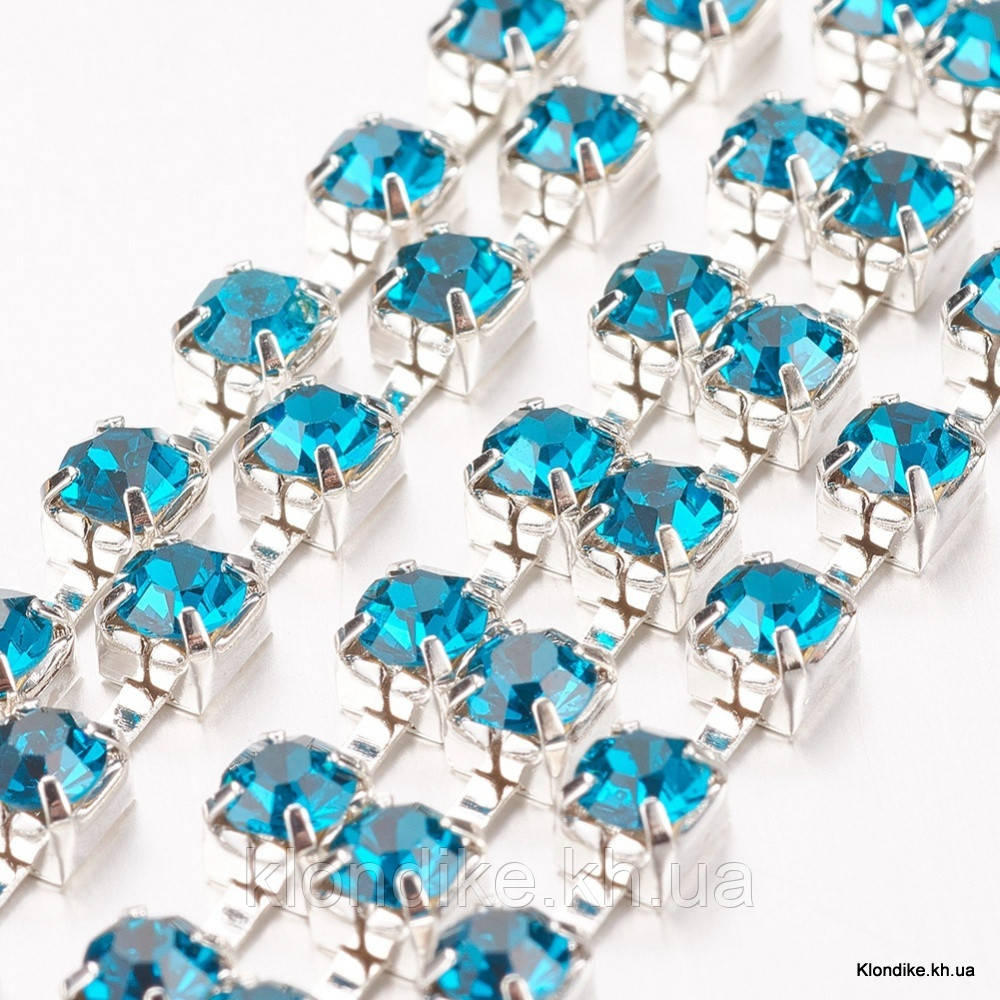 Стразовая цепь ss14 (3.5 мм), Цвет: Голубой Циркон на серебряной основе (~162шт/1м)