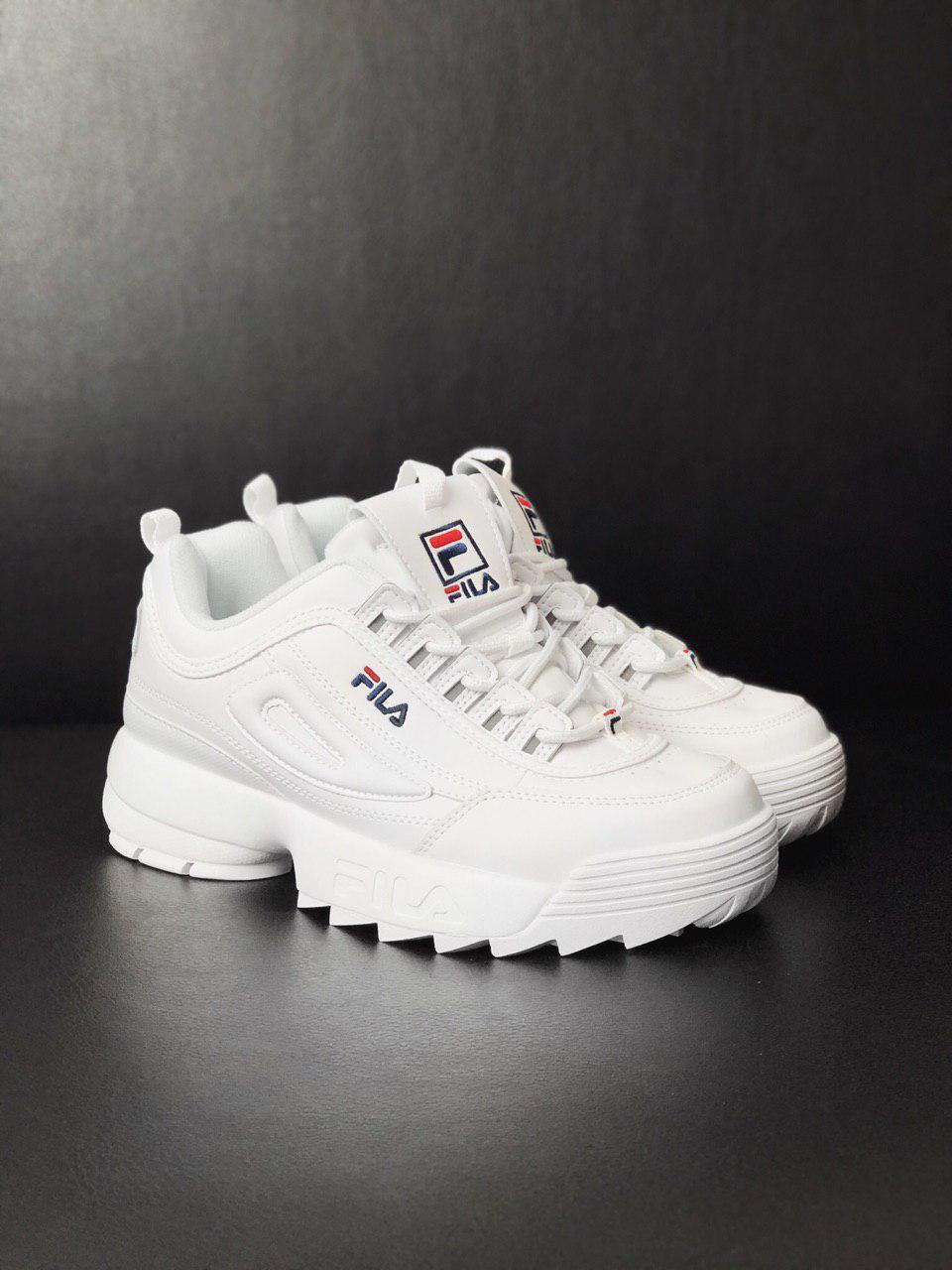 Фила Дисраптор 2 полностью белые. Женские осенние кроссовки белого цвета Fila Disruptor II white 41