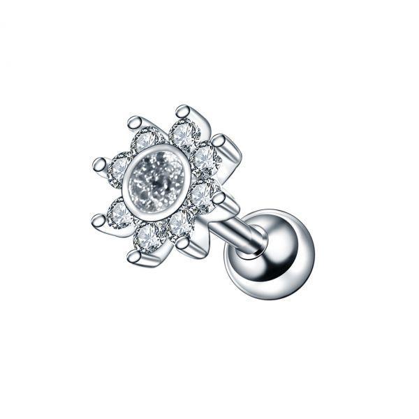 Серьга мини штанга стальная с цветком кристаллы 175879
