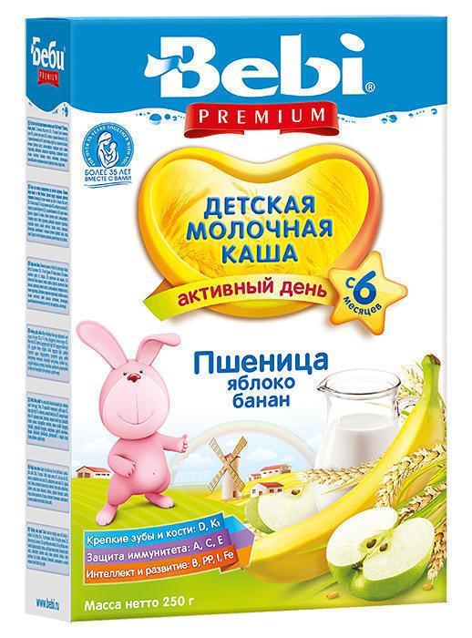 Каша Kolinska Bebi Premium пшеница, яблоко, банан с 6 месяцев 250 г