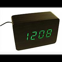 Настольные деревянные часы ET 009 ЧЁРНЫЕ с зеленой подсветкой