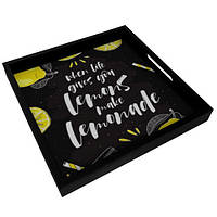 Деревянный поднос с принтом When life gives you lemons make lemonade 33х33х4 см (PDN_19N009_BL)