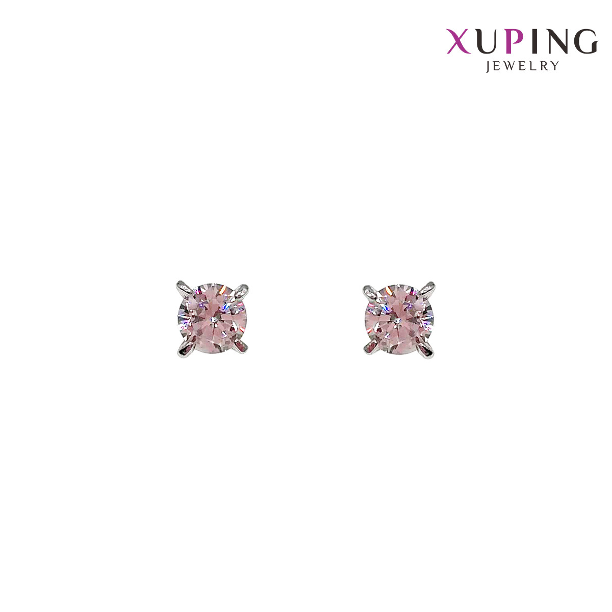 Серьги Xuping гвоздики, размер 5х5 мм, белые фианиты (куб. цирконий), вес 1,1 г, родий (белое золото), ХР00724