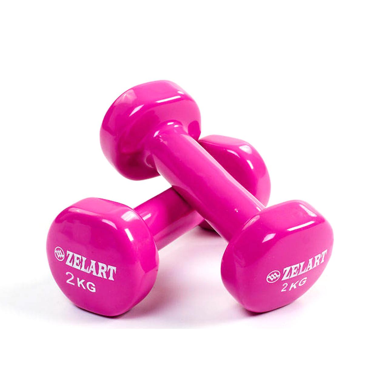 Гантели для фитнеса с виниловым покрытием 2 кг
