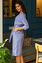 """Хлопковое платье-халат в клетку """"Изабель"""" с поясом и карманами (3 цвета), фото 2"""