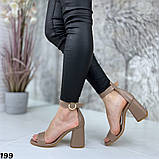 Женские босоножки на удобном устойчивом каблуке с ремешком,натуральна кожа, фото 3
