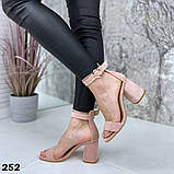 Женские босоножки на удобном устойчивом каблуке с ремешком,натуральна кожа, фото 4