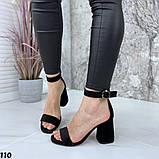 Женские босоножки на удобном устойчивом каблуке с ремешком,натуральна кожа, фото 5