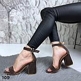 Женские босоножки на удобном устойчивом каблуке с ремешком,натуральна кожа, фото 6