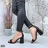 Женские босоножки на удобном устойчивом каблуке с ремешком,натуральна кожа, фото 7
